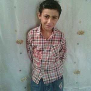 The child Udday Hasan Khalif, 10 years old, killed in an alleged coalition raid yesterday on al Thani neighbourhood bakery in al tabaqa.