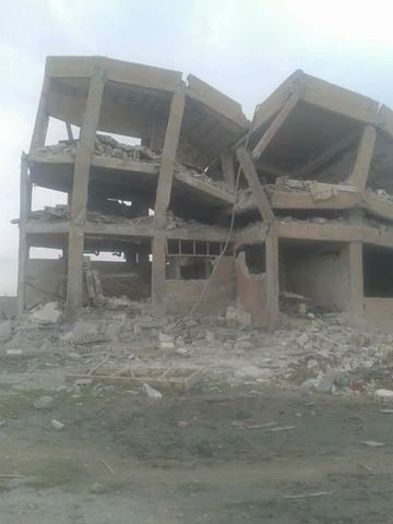 Ruins of Badiya School, Mansoura, following an alleged Coalition strike, March 21st (via RBSS)