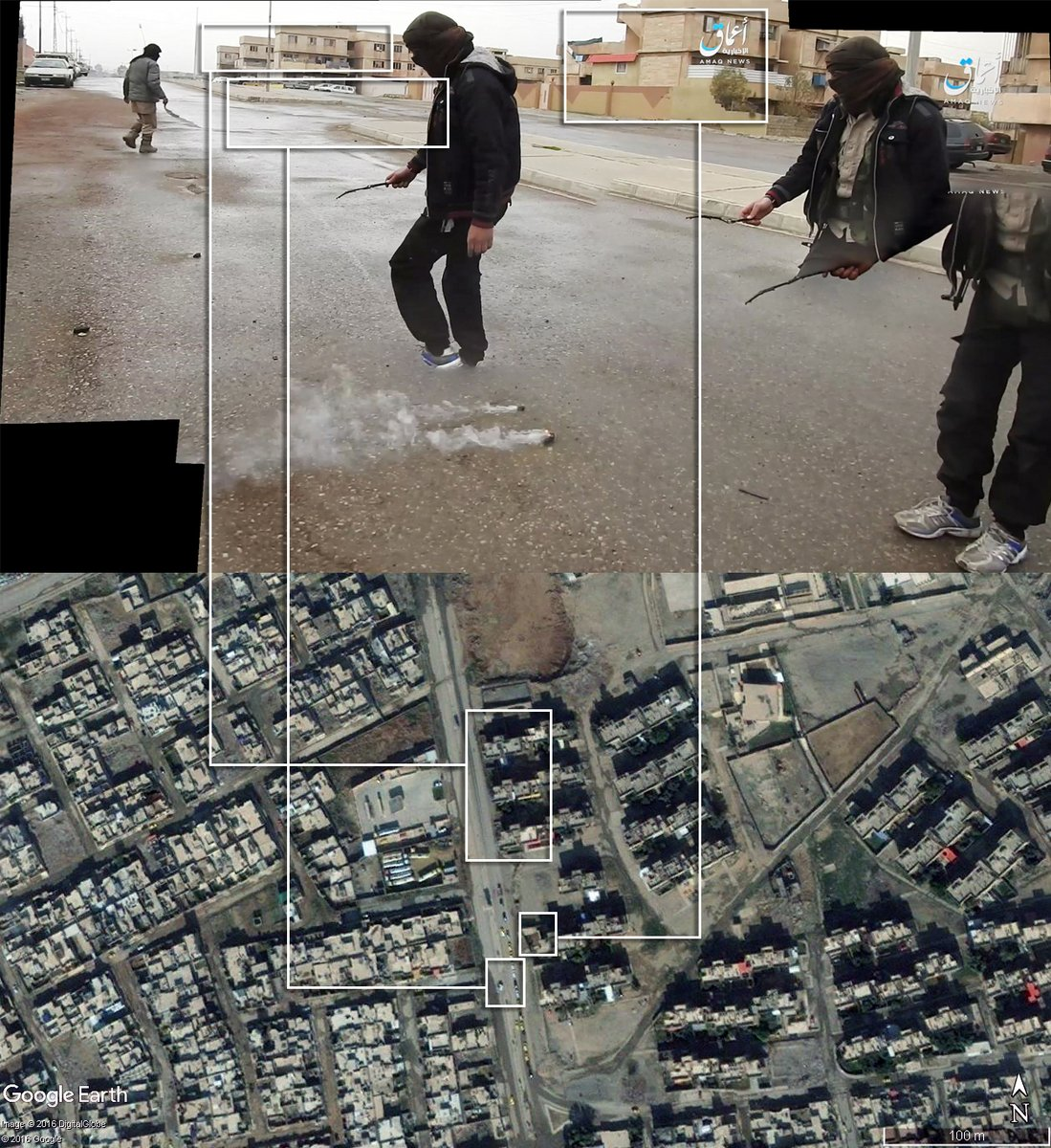 Bellingcat geolocated the March 10th 2017 use of white phosphorous against ISIL in urban Mosul