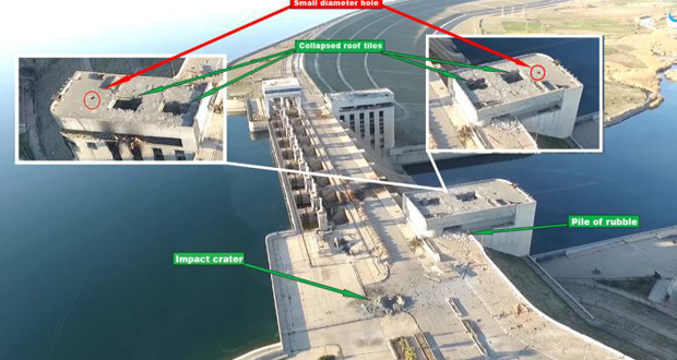 Diagram showing locations of damage to the Euphrates Dam following an alleged Coalition raid, March 27th (via Hashtag Syria)