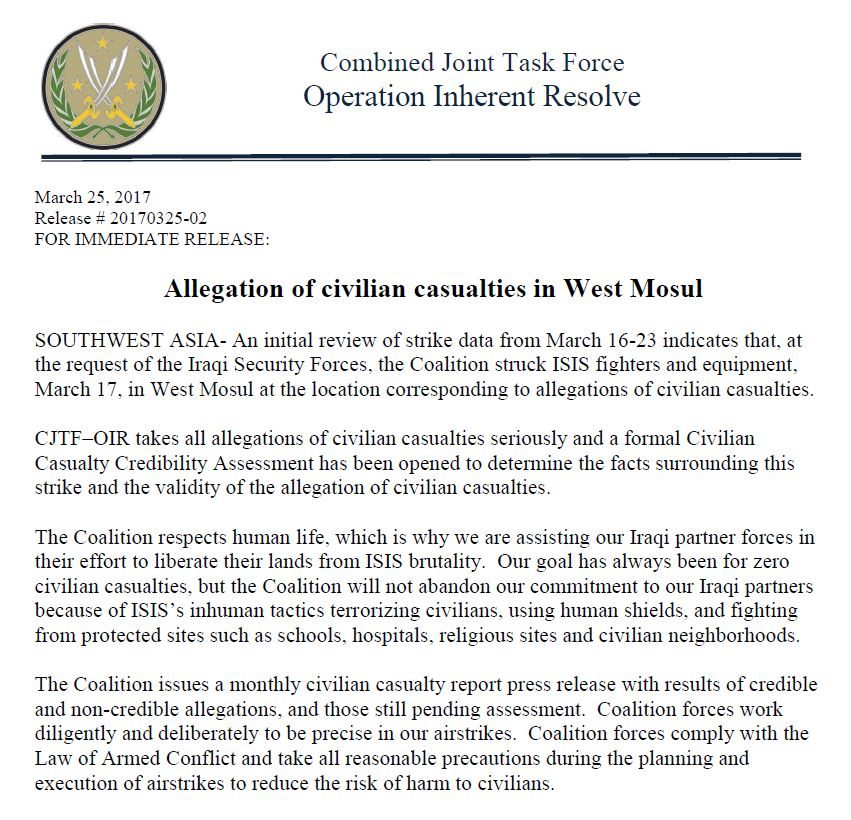 "The Coalition confirms its aircraft conducted a March 17th Mosul strike ""in the vicinity of alleged civilian casualties"""