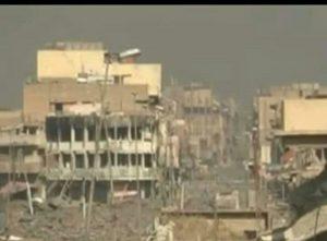 Massive destruction in Dawassa neighbourhood in Mosul (via Moghred_Ninawa, Twitter)