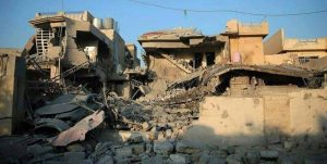 The aftermath of raids near Muthanna school with dozens of civilians under the rubble (via Iraqi Spring Media Center)